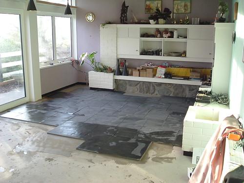 Living room slate floor installation  Under floor heating