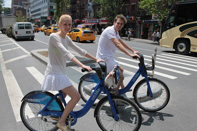 Tourists from Paris on Citibike