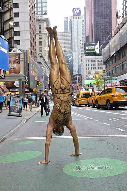 naturist handstand 0018 body paint art, Times Square, New York, NY, USA