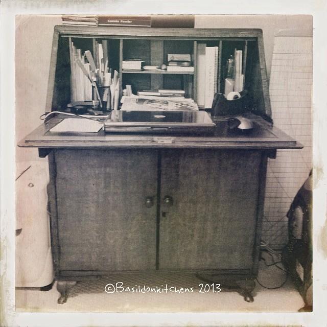 Nov 10 - antique {my desk} currently a little cluttered. #photoaday #antique #desk #clutter #titlefx #hipstagram