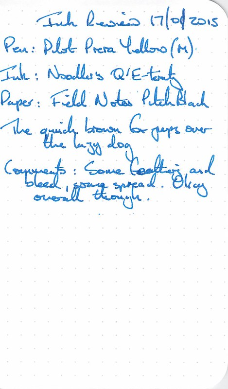 Noodler's Q'E-ternity Ink Review - Field Notes