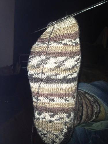 The Ugly Sock in progress