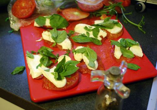 Tomato, mozzarella, basil