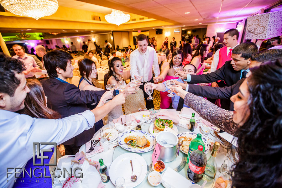 Bride and groom perform for gifts from guests