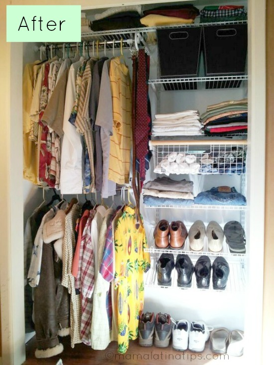 Organized closet with clothes and shoes