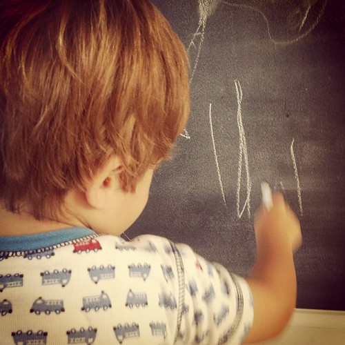 Chalkboard drawing in our pajamas... That's where I want to be this morning, instead of off to work.  #latergram