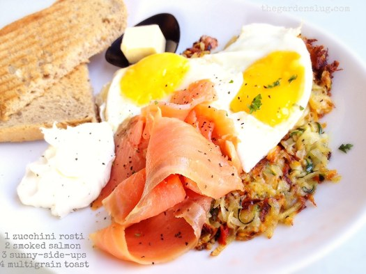 all day breakfast special: Zuchinni rosti with two sunny-side-up eggs, smoked salmon, lemon cream cheese and toast