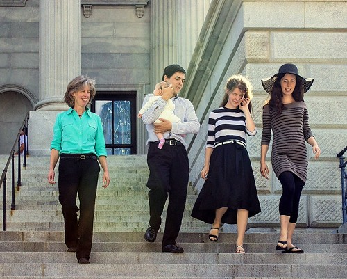 Family on Capital Steps by Christopher OKeefe