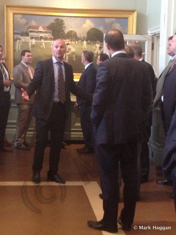 Paul Nixon and Andrew Strauss in The Long Room at Lord's