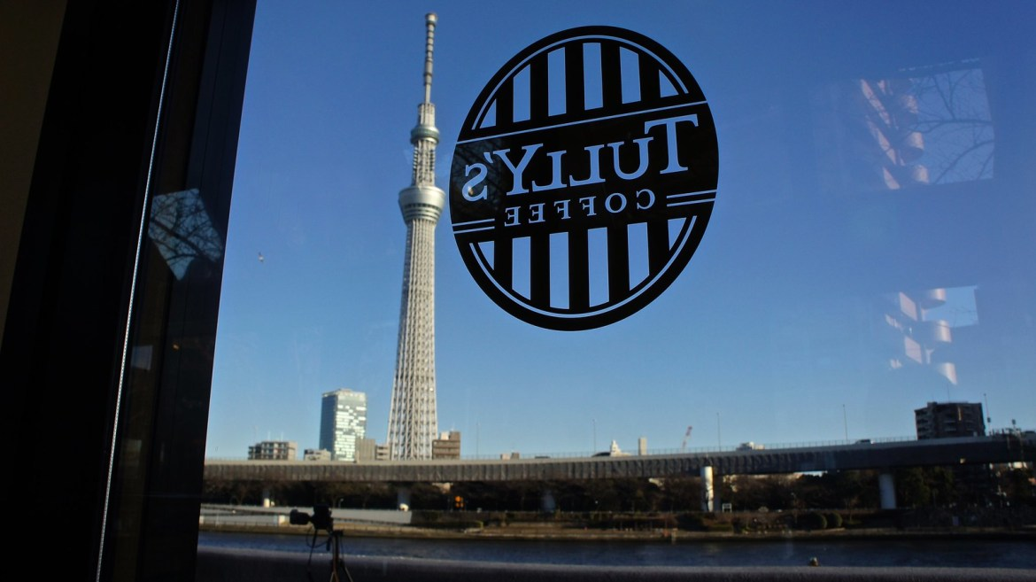 Skytree view from Tully's Coffee Cafe by the Sumida River