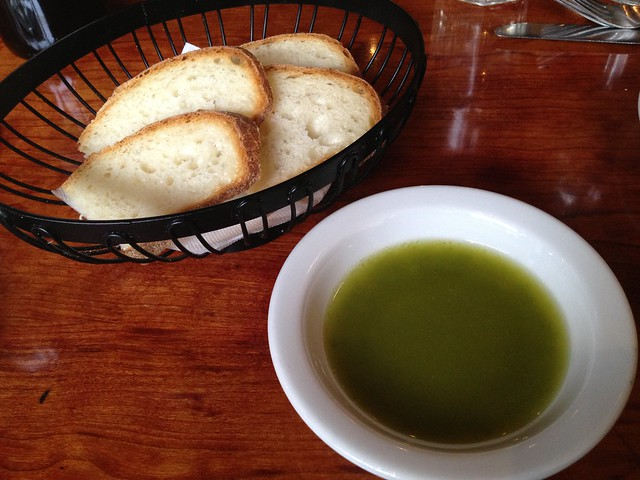 Pesto and olive oil with bread - Alamo Square Seafood Grill