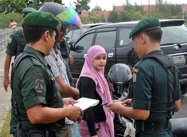 Acehnese Sharia Police Officers Check Unmarried Couple