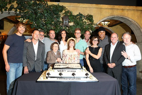 NCIS: LA - 100th cake and team