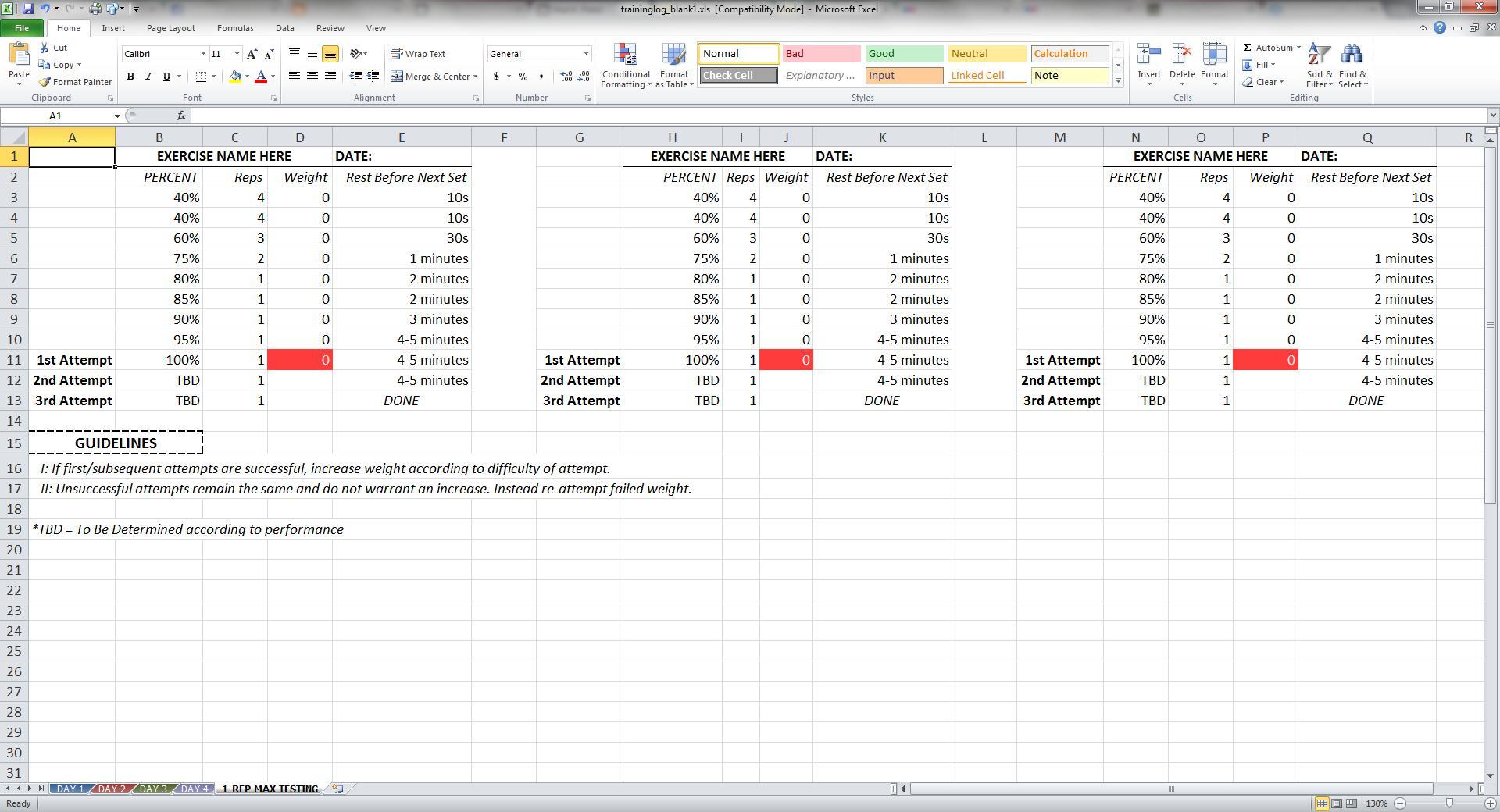 Niel K. Patel: DOWNLOAD: Training Log Spreadsheet
