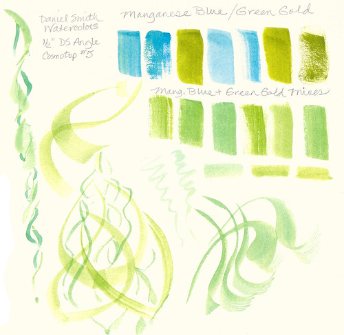 Daniel Smith Manganese Blue and Green Gold Watercolors