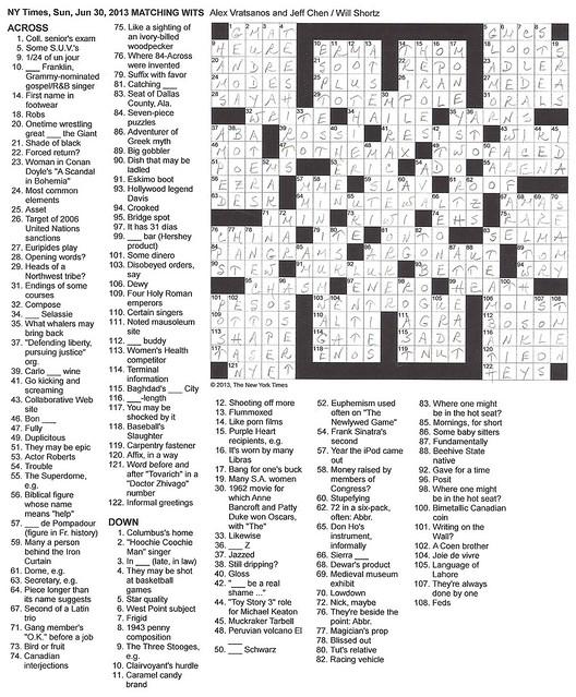 NYT Sunday Puzzle - June 30, 2013