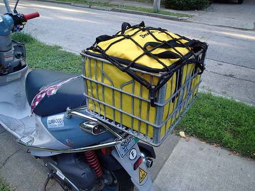custom scooter milkcrate bag stuffed with groceries