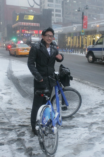 Citibike in the Snow.