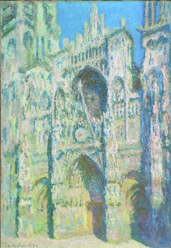 Claude Monet, A catedral de Rouen. A fachada ocidental e a torre de Saint-Romain em pleno sol. Harmonia em azul e dourado, 1893