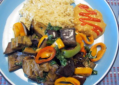 Eggplant Stir Fry with Wild Rice