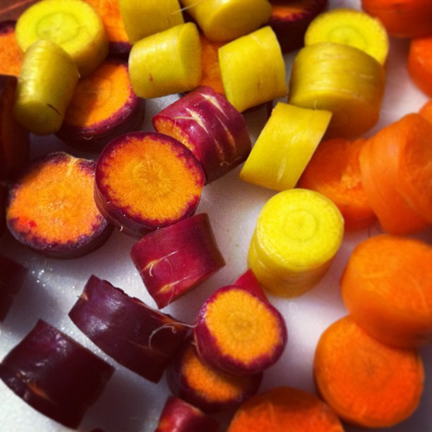I got a little too excited when I discovered that the purple carrots are orange in the center!