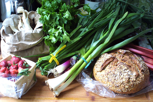Strawberries, herbs, lettuces, mushrooms, rhubarb, bread