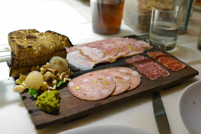 Salumi chef's selection of house-cured meats, pickles, mostarda, grilled bread