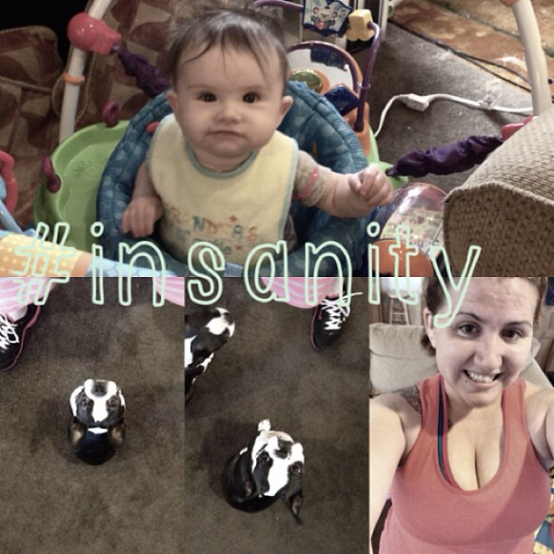 I had a little audience for my workout today. #insanity #workitgurl #fitmom #fitfamily #babyweight