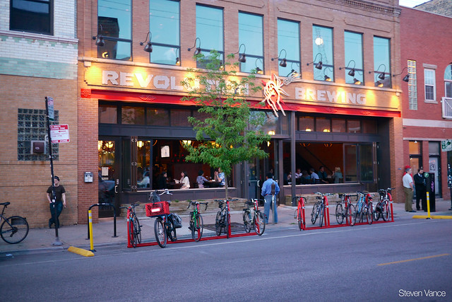 New bike parking corral at Logan Square's Revolution Brewing