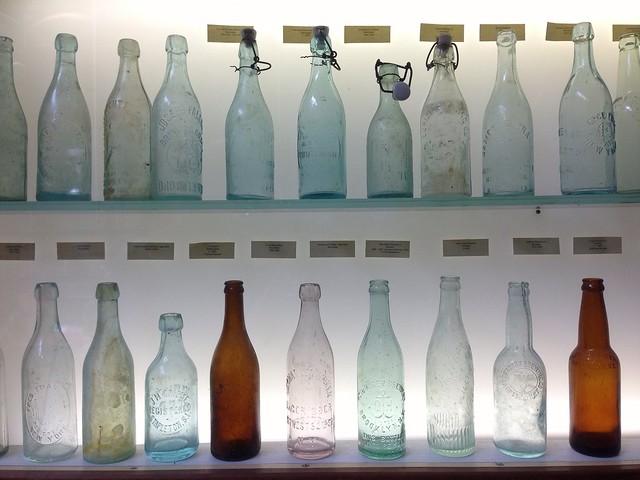 vintage beer bottles at brooklyn brewery