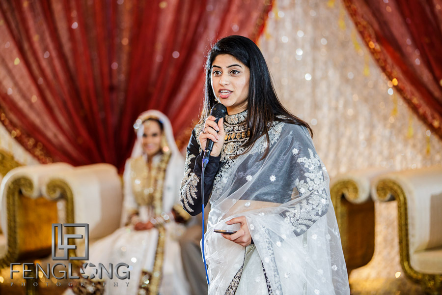 Guest giving speech at Indian wedding Valima