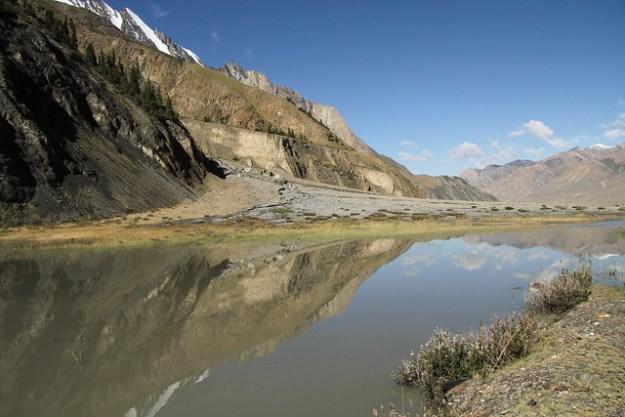 Reflections at Camp Iva. South Inylchek Glacier Trek