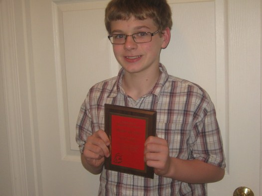 Aiden and his Pride Award