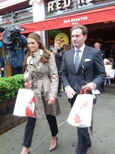 Princess Madeleine of Sweden and Chris O'Neill leave the Red Rooster Restaurant in Harlem, New York.