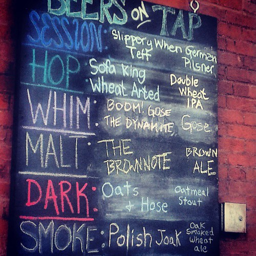 Beers on tap at Against the Grain in Louisville