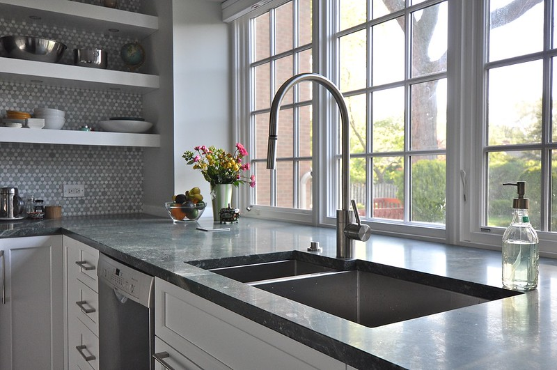extra deep kitchen sink cart on wheels window bump out at counter hight or higher?