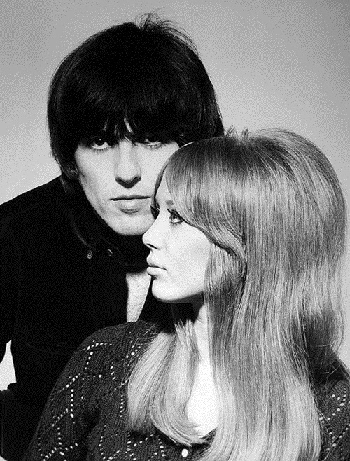 George Harrison and Pattie Boyd photographed by Robert Freeman shortly before their wedding, January 1966.