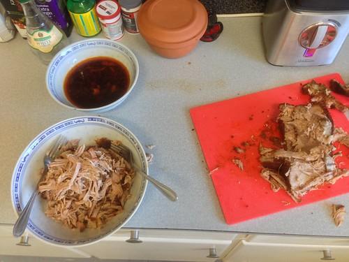 pulling pork with forks