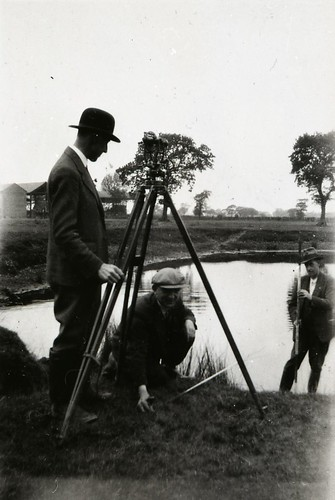 Wythenshawe, Surveyors near Elm Tree Farm,circa 1940