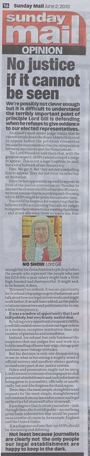 Sunday Mail Opinion on Lord Gill No Show 2 June 2013