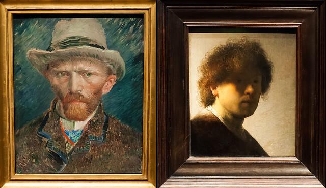 Self-portraits of Van Gogh and Rembrandt