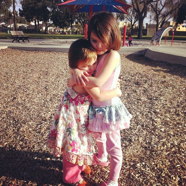 Love when the stop in the middle of the playground to hug... #sisters #bestfriends