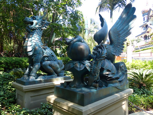 The actual statues that make up the water griffin