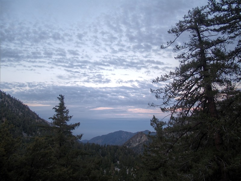 Dawn clouds and the view southwest toward Potato Mountain from Falls Road