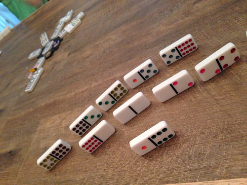 Playing a game of dominoes