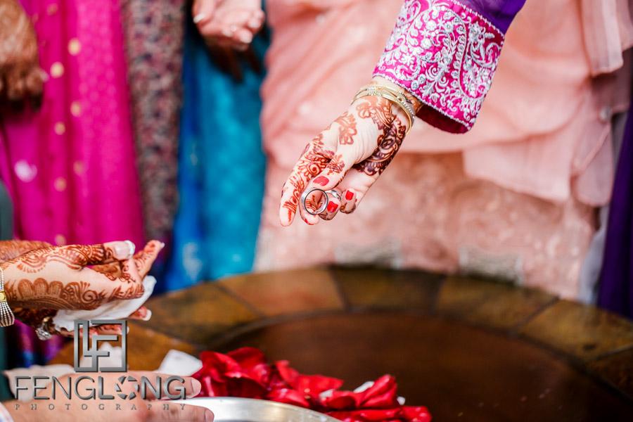Hands reaching for ring as part of the Khoba Khobi ceremony