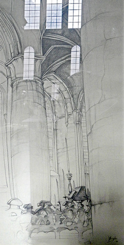 a drawing reflecting the Cathedral in Ghent, Belgium