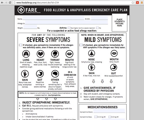 Food Allergy Action Plan