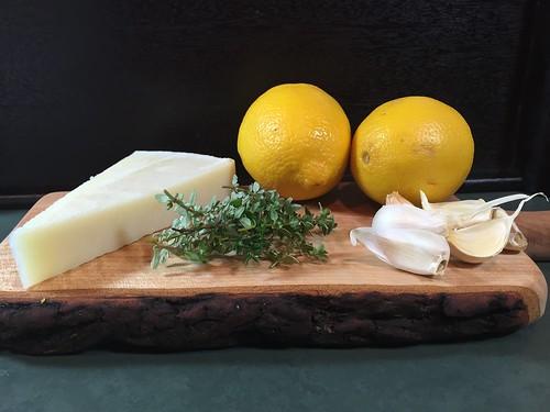 garlic, lemon, thyme, and pecorino romano