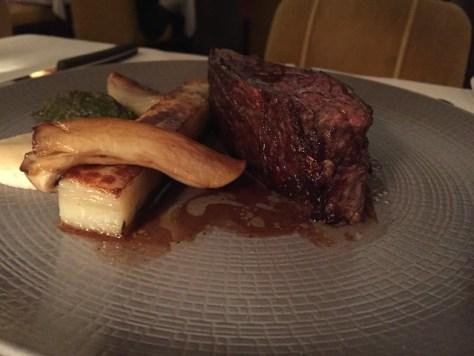 Grilled Creekstone Angus beef, caramelised celeriac purée, crisp Anna potatoes.